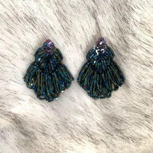 Vintage Clip-On Beaded Emerald Earrings